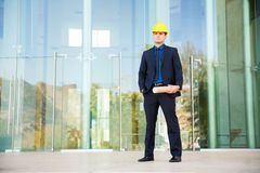 Architect in a suit and helmet Stock Image