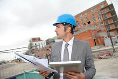 Architect with tablet on building site Royalty Free Stock Photography