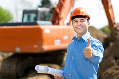 Architect thumbs up in a construction site Stock Photos