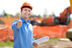 Architect thumbs up in a construction site Royalty Free Stock Photos