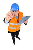 An architect about to write. On the camera Royalty Free Stock Photography