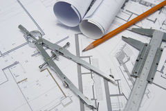 Free Architect Tools Royalty Free Stock Photo - 21955995