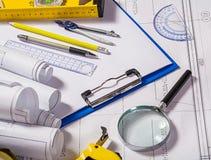 Architect tools on blueprint Royalty Free Stock Photo