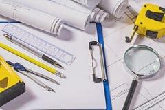 Architect Tools On Blueprints Royalty Free Stock Photo