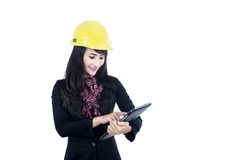 Architect touching tablet isolated in white Stock Photo