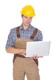 Architect using laptop. Happy Male Architect Using Laptop Isolated On White Background Royalty Free Stock Photo