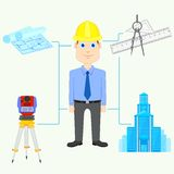Architect. Vector illustration of Architect with equipment Stock Image