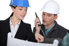 Architect  with a walkie talkie Stock Photos