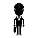Architect wearing safety helmet suitcase pictogram Stock Photos