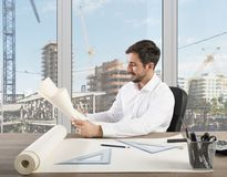 Architect welcomes project. Successful proud architect welcomes a work project Stock Images
