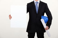 Architect with white panel Royalty Free Stock Photography