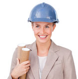 Architect woman. Isolated on a hie background Stock Photos