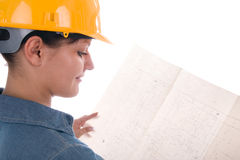 Architect woman with blueprint. Architect woman holding blueprint; white background; side view Stock Photography