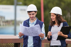 Architect woman and construction site supervisor Royalty Free Stock Photography