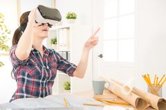 Architect woman experience VR glasses Stock Photography