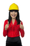 Architect Woman Give Thumb Up Royalty Free Stock Photography