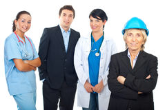 Architect woman and group of workers Royalty Free Stock Photography