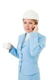 Architect woman make a call Stock Images