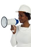Architect woman with a megaphone Royalty Free Stock Images