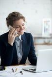Architect woman on phone Stock Photo