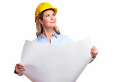 Architect woman with a plan. Royalty Free Stock Photos