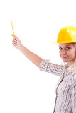 Architect woman pointing up Royalty Free Stock Image