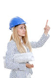 Architect woman pointing up Stock Photos