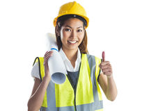 Architect woman with thumbs up Stock Photography