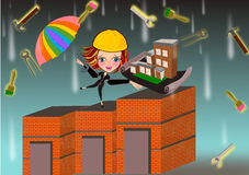 Architect woman under working tools rain. Rain of hardworking concept of architect woman. Home improvement concept illustration Royalty Free Stock Images