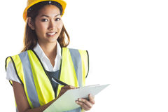 Architect woman with yellow helmet and plans Stock Photos