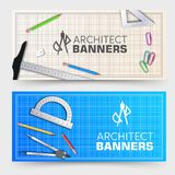 Architect wood table banners project with professional equipment background. Vector illustration design.  vector illustration