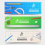 Architect wood table banners project with professional equipment background. Vector illustration design.  stock illustration
