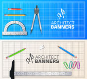 Architect wood table project with professional equipment background concept. Vector illustration banners. Design Royalty Free Stock Image