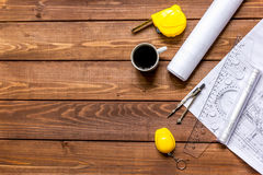 Architect wooden working desktop with drawings apartments top view Royalty Free Stock Image