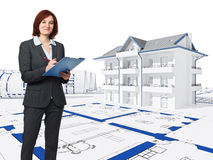 Architect at work. Architect with blue print and 3d house background Royalty Free Stock Photos