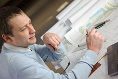 Architect in work. Royalty Free Stock Photography