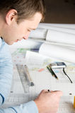 Architect in work. Royalty Free Stock Photos