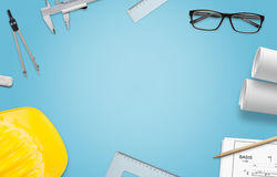 Architect work desk. Construction projects, and drawing accessories. Top view with free space for text Stock Images