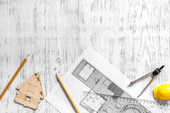 Architect at work. Drawing and tools on light wooden desk top view copyspace Royalty Free Stock Photography