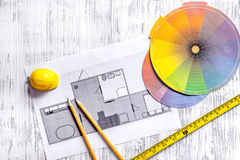 Architect at work. Drawing and tools on light wooden desk top view copyspace Royalty Free Stock Images
