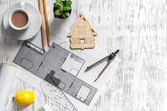Architect at work. Drawing and tools on light wooden desk top view copyspace Stock Photo
