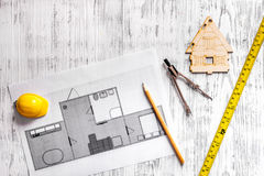 Architect at work. Drawing and tools on light wooden desk top view copyspace Royalty Free Stock Image
