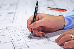 Architect during work Stock Image