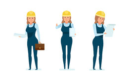 Architect worker with documents, studying project, technical documentation, drawings, estimates. Stock Photos