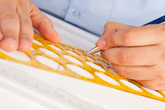 Architect working on architectural plans stock image