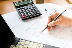 Architect working on blueprint Royalty Free Stock Photography