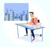 Architect working on blueprint vector illustration Stock Image