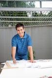 Architect Working On Blueprints Stock Image