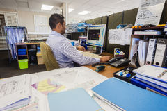 Architect Working Computer Designing Stock Images