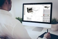 Graphic tablet designer architect. Architect working with  computer and graphic pen Stock Image